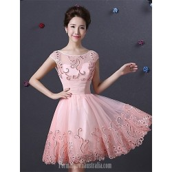 Australia Formal Dresses Cocktail Dress Party Dress Pearl Pink A Line Bateau Short Knee Length Satin